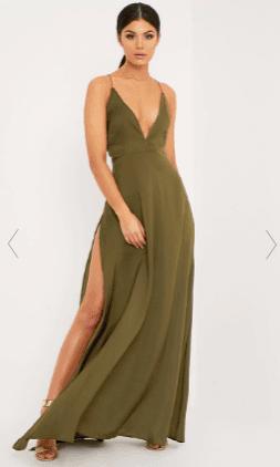 https://www.prettylittlething.com/beccie-khaki-extreme-split-strappy-back-maxi-dress.html