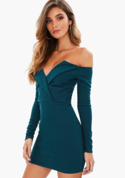 https://www.missguided.co.uk/blue-bardot-wrap-dress-10065925