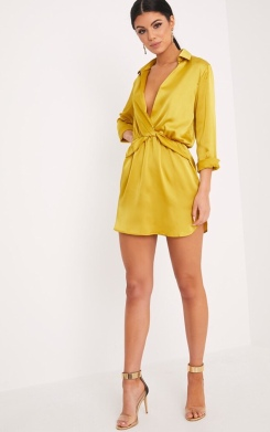 https://www.prettylittlething.com/katalea-dark-lime-twist-front-silky-shirt-dress.html