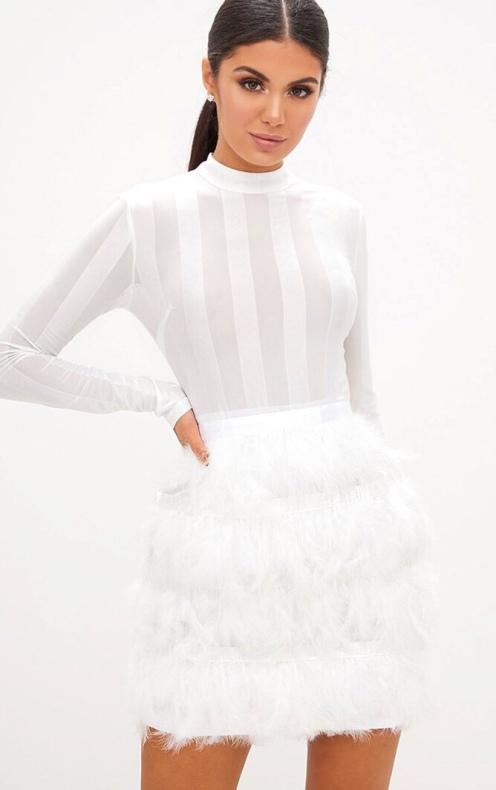 https://www.prettylittlething.com/fawn-white-premium-feather-skirt-bodycon-dress.html