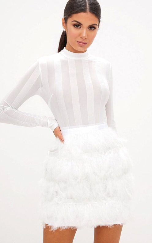https://www.prettylittlething.com/fawn-white-premium-feather-skirt-bodycon-dress.html