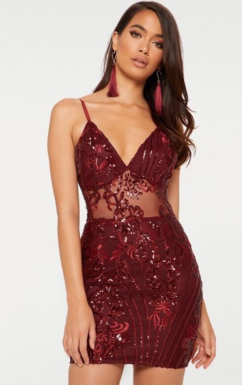 https://www.prettylittlething.com/burgundy-strappy-sheer-panel-sequin-bodycon-dress.html