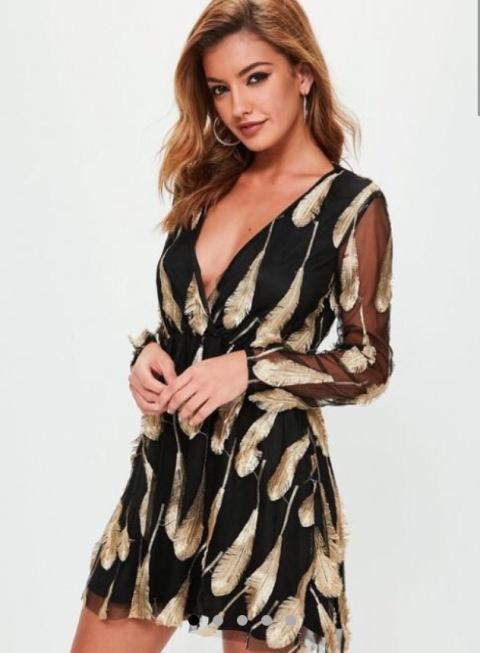 https://www.missguided.com/ie/black-feather-sheer-sleeve-skater-dress-10070536
