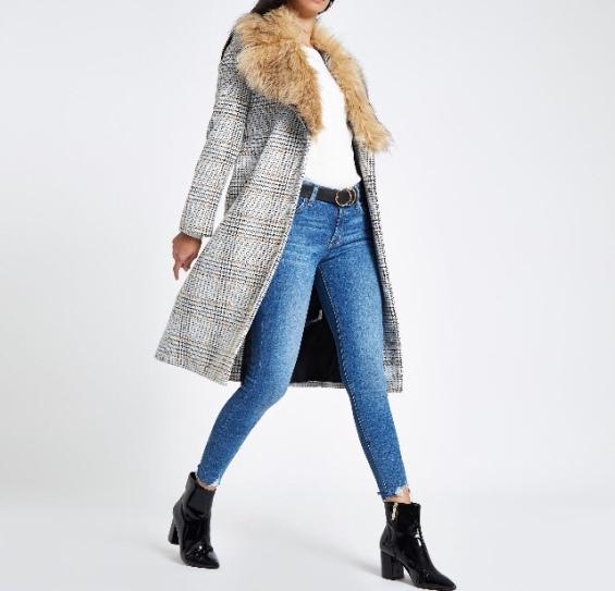 https://www.riverisland.ie/p/brown-check-print-belted-faux-fur-robe-coat-718749