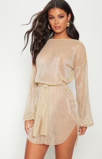 https://ie.prettylittlething.com/gold-plisse-balloon-sleeve-sheer-shift-dress.html