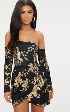 https://ie.prettylittlething.com/black-floral-sequin-bardot-bodycon-dress.html